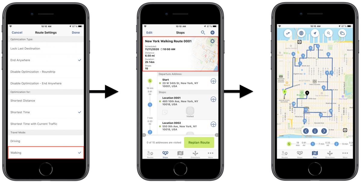 iOS Walking Optimization - Optimizing Routes with Walking Directions Using Route4Me's iPhone Route Planner