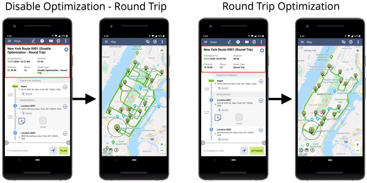 Android Disable Optimization (Roundtrip) - Planning Routes With Disabled Optimization (Roundtrip) Using Route4Me's Android Route Planner