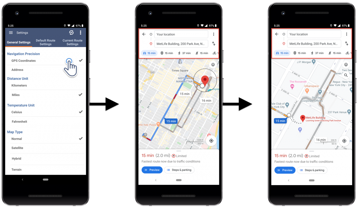 Android Navigation Precision - Adjusting the Address and GPS Coordinates Navigation Precision Settings on Your Route4Me Android Route Planner