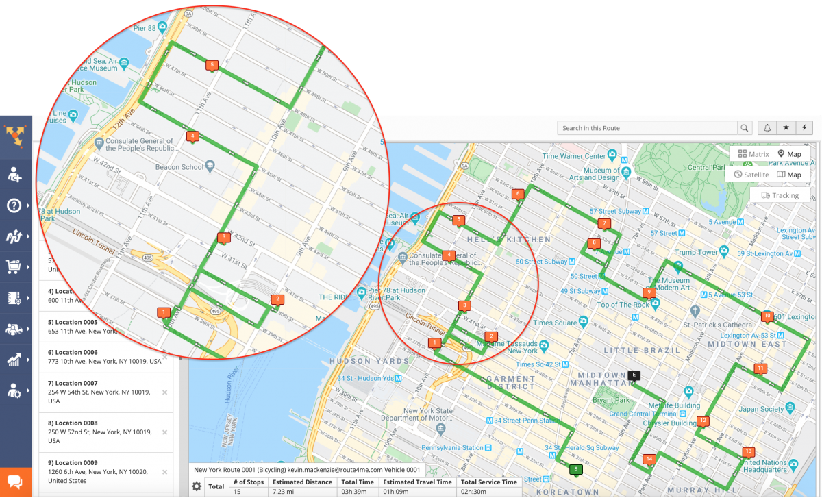 Bicycling Optimization - Optimizing Routes with Bicycling Directions on the Route4Me Web Platform