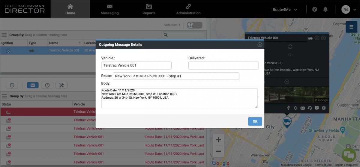 Dispatching Route4Me Routes to Teletrac Navman