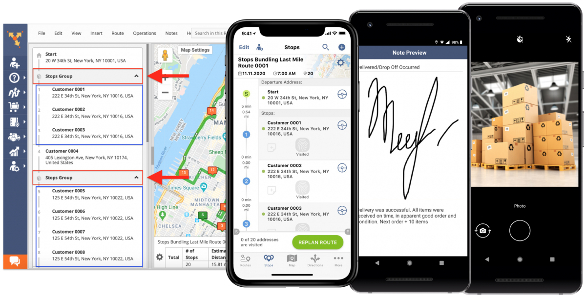 Add images and signatures to separate destinations in Stops Groups using Route4Me's mobile apps.