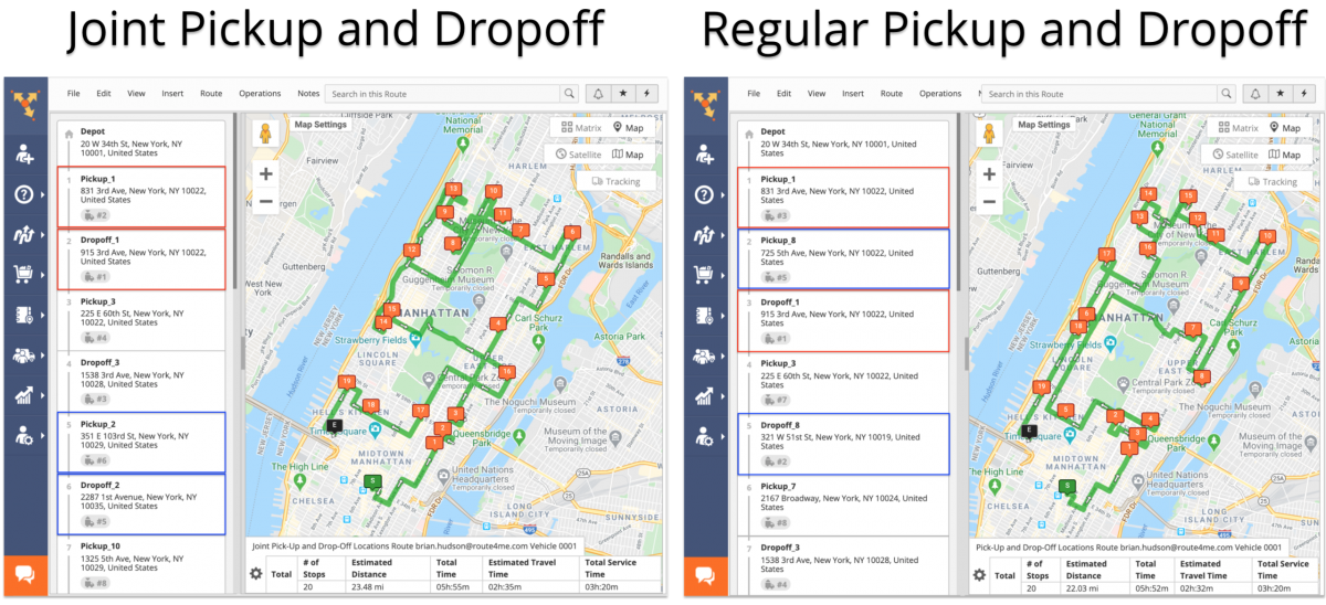 Joint Pickup and Dropoff Route Optimization – How to Plan Routes with Joint Pick-Up and Drop-Off Address Pairs (Without Time Windows)