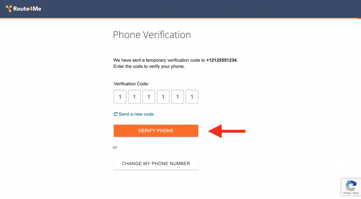 """Input the received SMS verification code and click on the """"Verify Phone"""" button."""