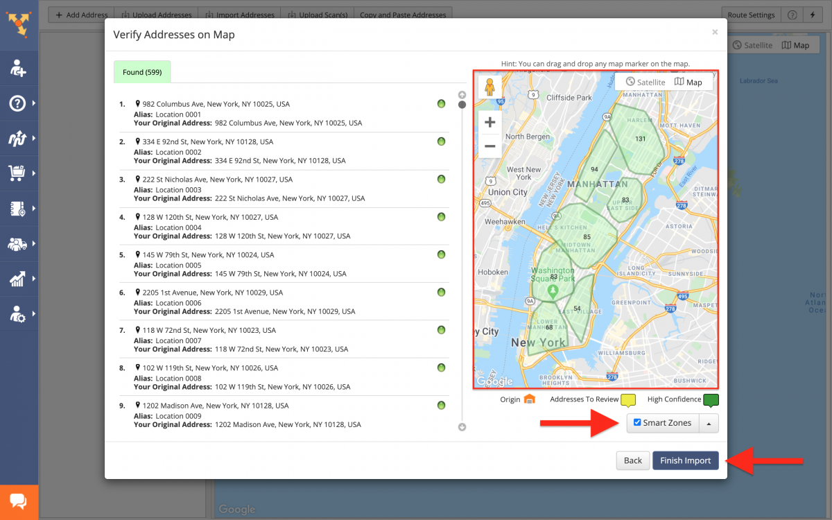 Don't forget to enable Smart Zones by checking the corresponding box before planning the route(s).