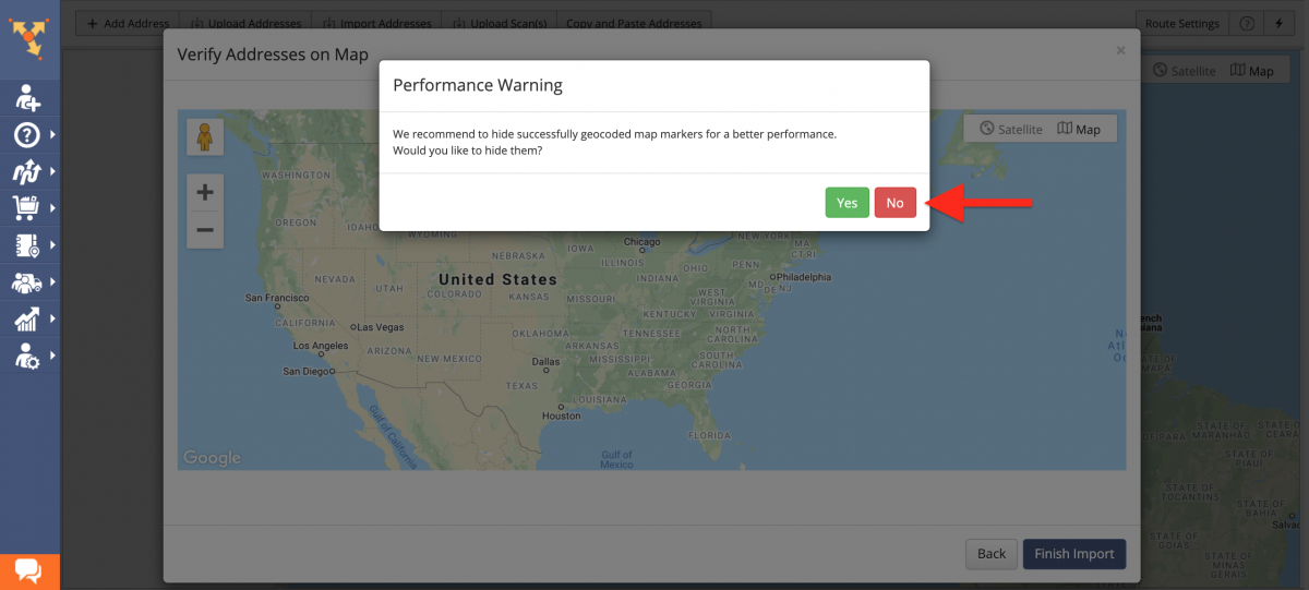 """Performance Warning to hide successfully geocoded map markers - click """"No"""" to show markers."""