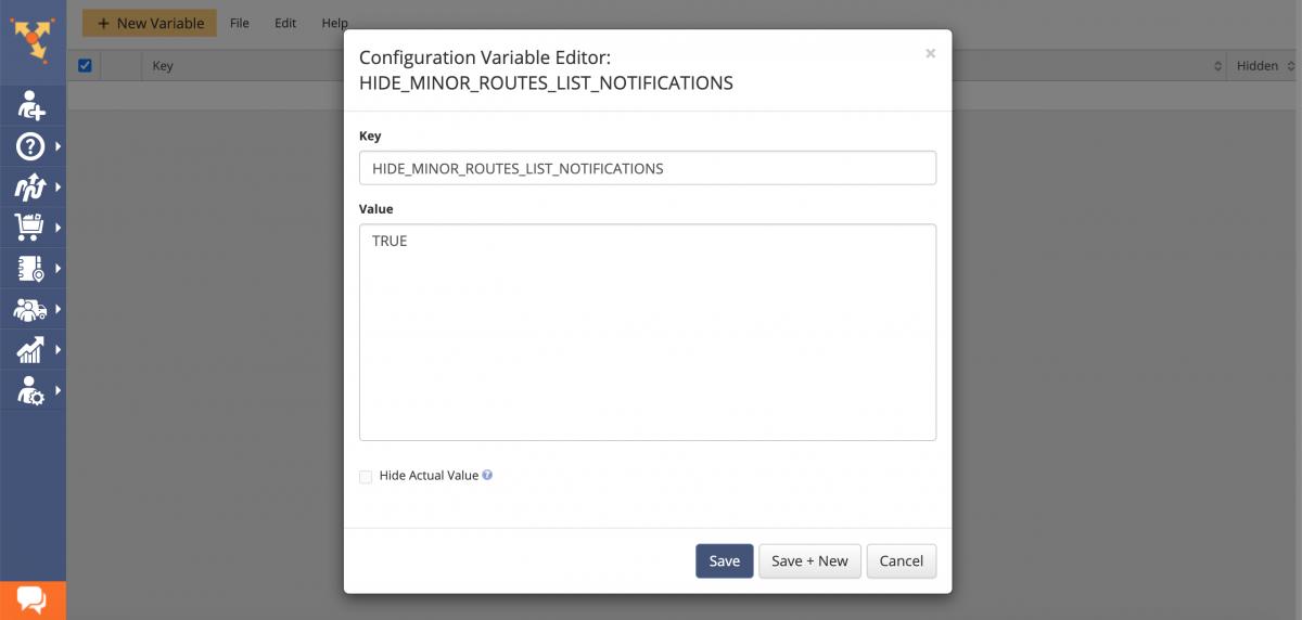 Using Route4Me's Advanced Configuration Editor to enable and disable advanced configurations.