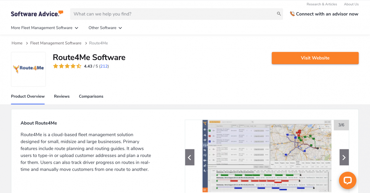 Route4Me business route planning software on Software Advice - business software reviews platform.