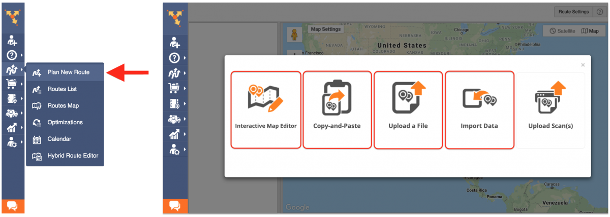 Start planning new routes from Smart Zones by going to Plan New Route from the navigation menu.