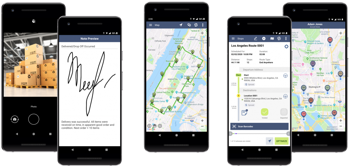 Supported software and hardware and recommended devices for Route4Me's Android Route Planner.