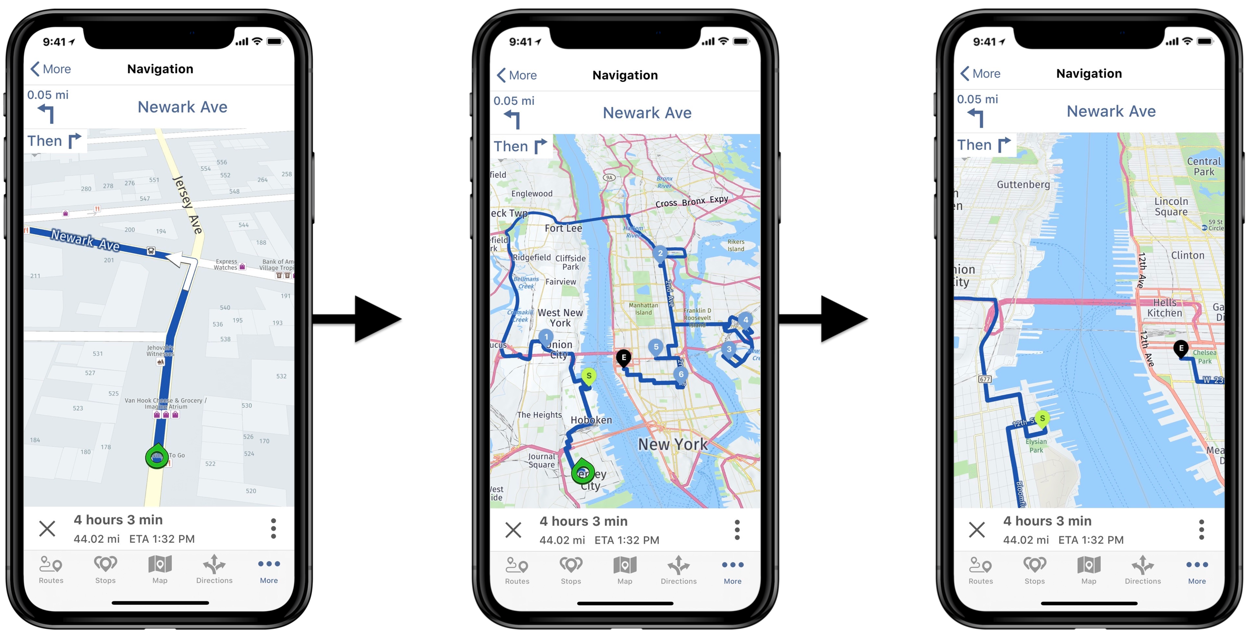 Use Route4Me's iOS in-app voice-guided navigation to navigate the opened commercial route.