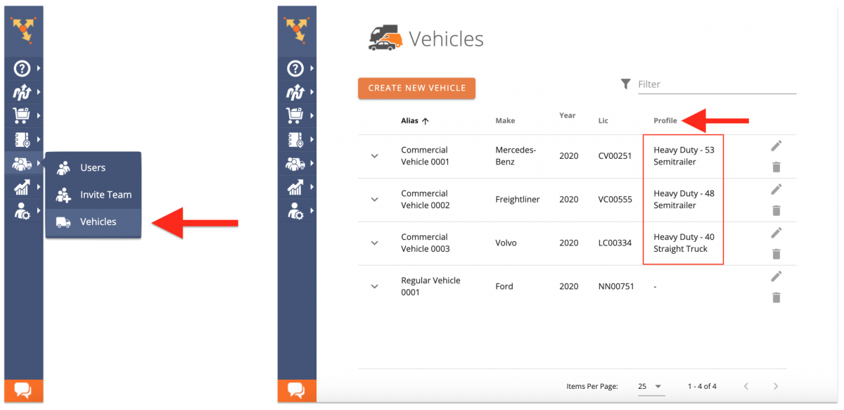 Open the list of all commercial fleet vehicles to check their Vehicle Profiles.