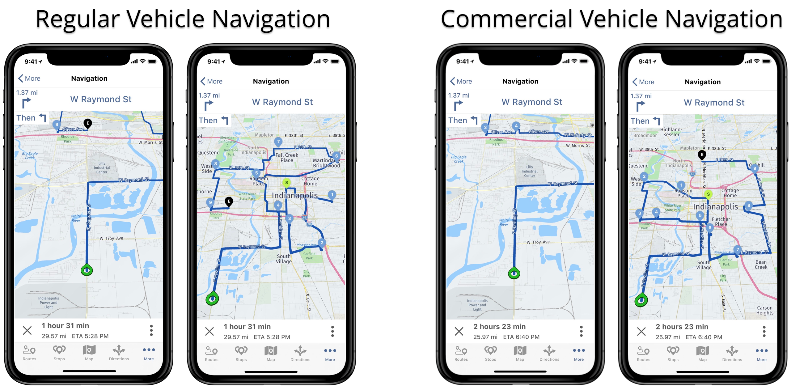 Commercial voice-guided navigation vs regular mobile navigation on Route4Me's iOS Route Planner.