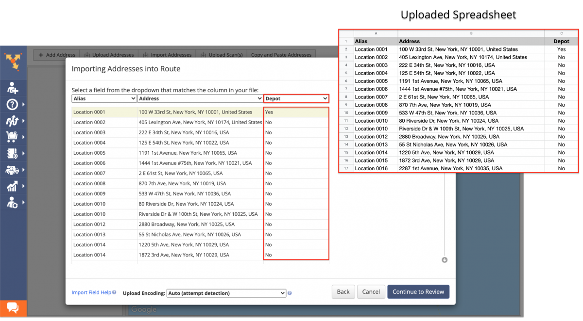 The system will automatically detect the specified depot address from the uploaded spreadsheet.