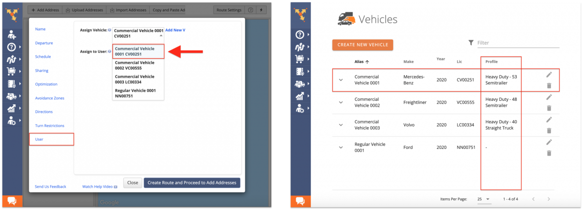 Assign a vehicle with a commercial Vehicle Profile to the route for it to be commercially optimized.