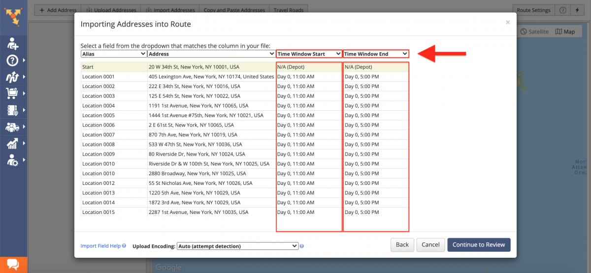 Make sure that you have Dynamic Start Time and Time Windows enabled for your imported addresses.
