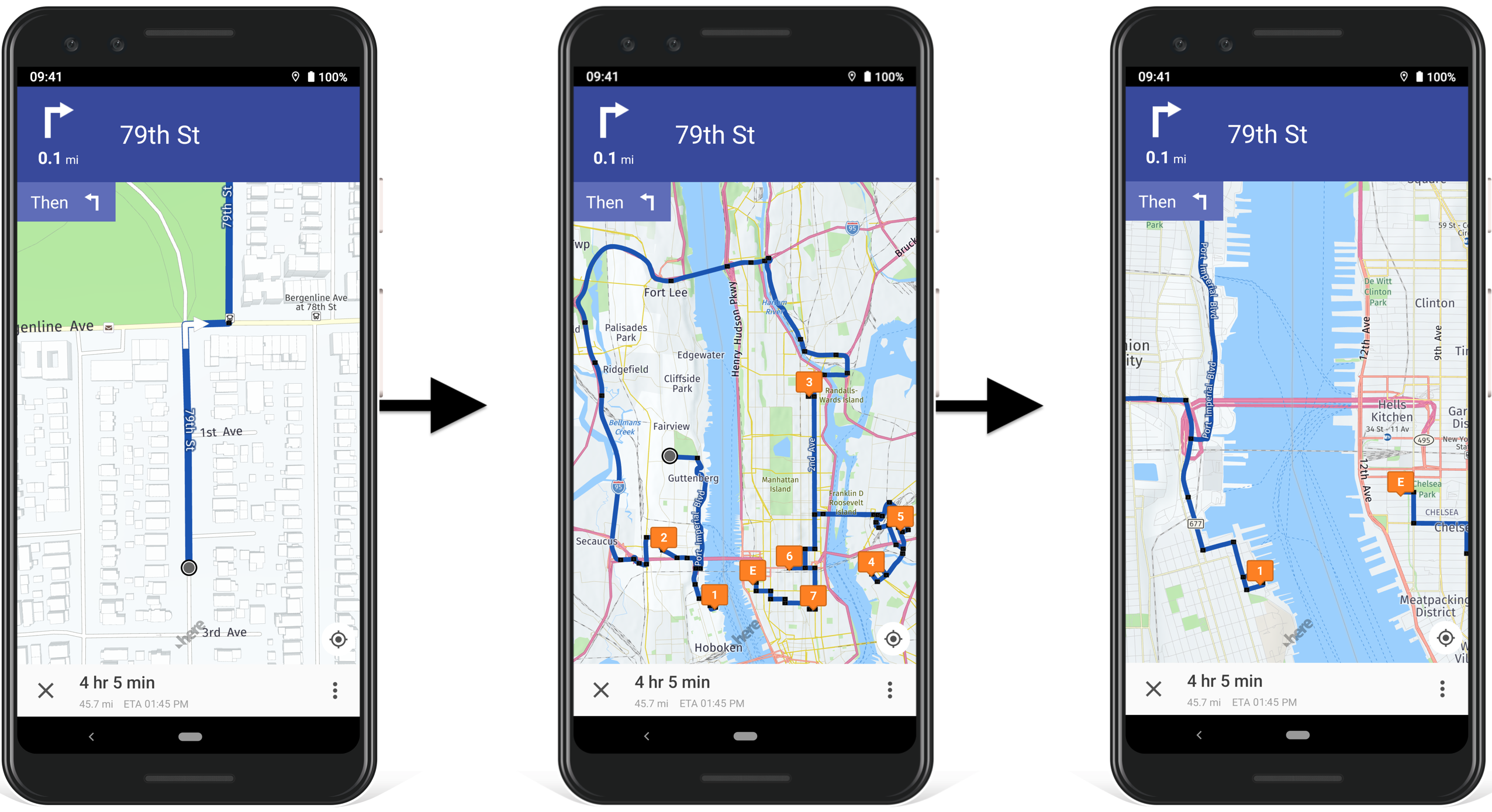 Use Route4Me's commercial in-app voice-guided navigation to navigate the opened commercial route.