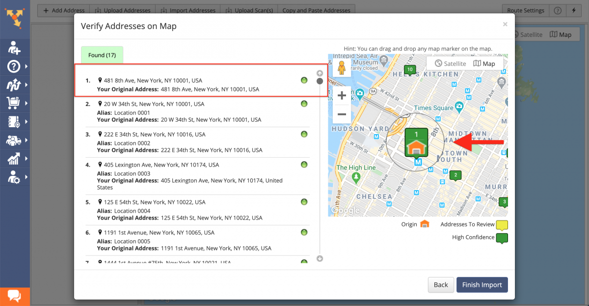 You can check that the selected address is the depot in the Verify Addresses on Map window.