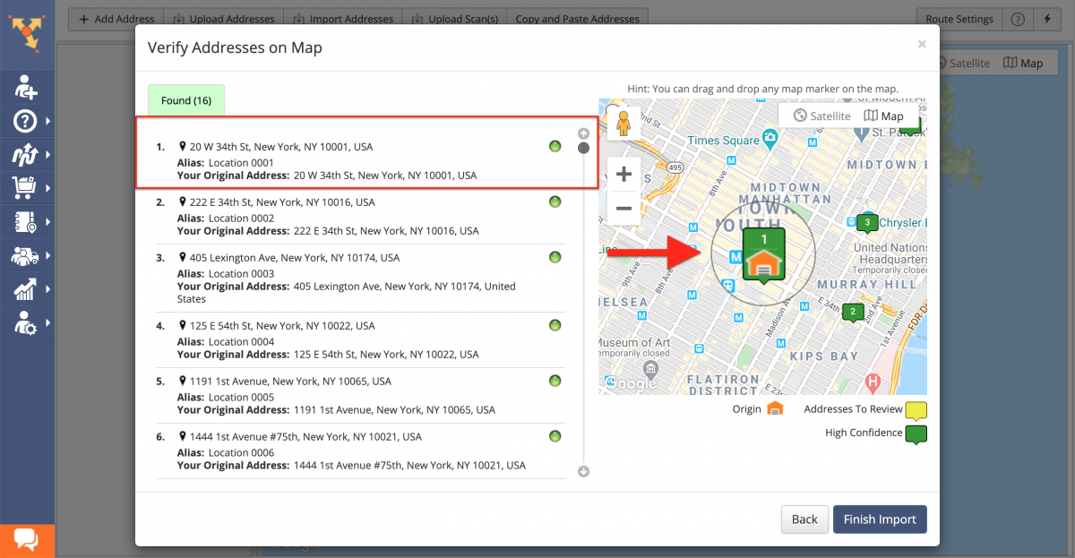 Check that the first uploaded address is selected as the depot in the Verify Addresses on Map tab.