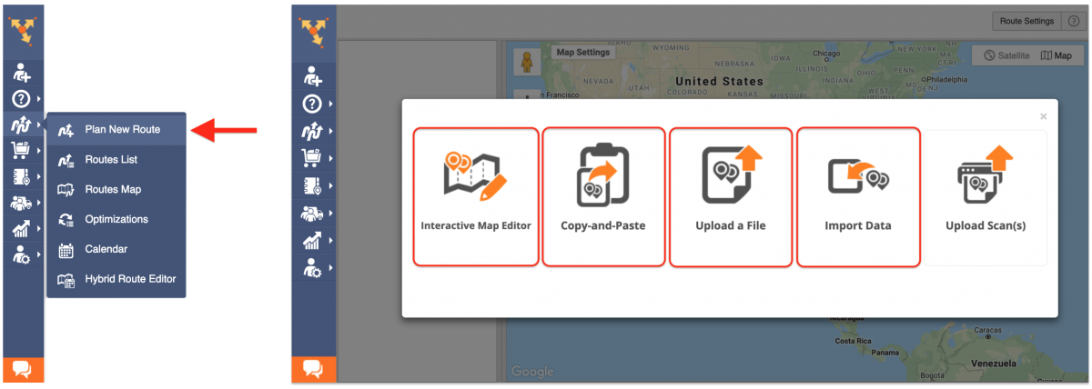 Select the preferred method for importing addresses that you want to use for planning routes.