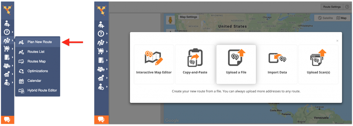 Select the preferred method for importing addresses to plan routes with the dynamic route start.