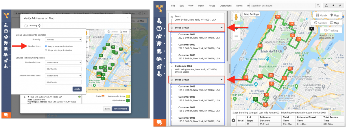 Keep as separate destinations - addresses will be displayed as separate stops on your Android app.