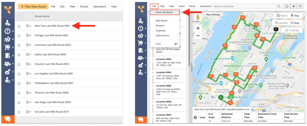 To share a route from the Route Editor, go to File and select Share Route from the menu.
