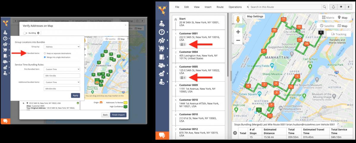 Merge Into Single Destination - each address bundle becomes a single destination on the route.