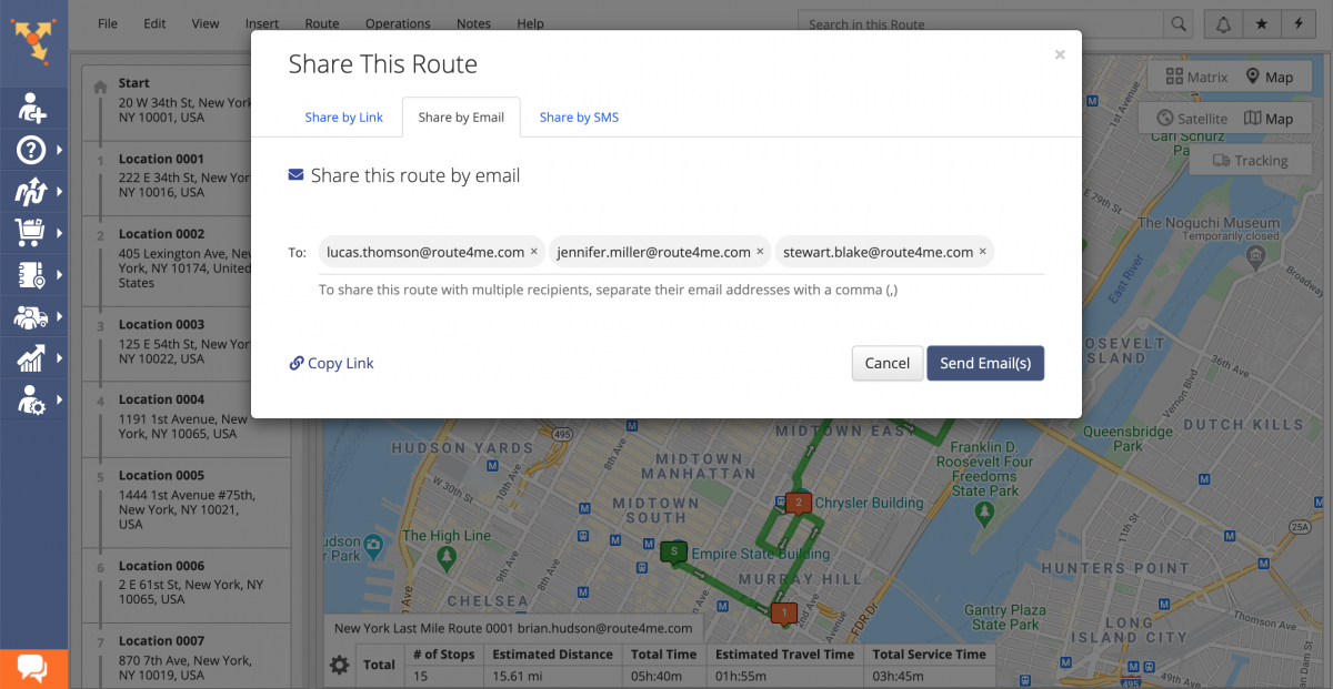 You can share routes by email with one or multiple external recipients.