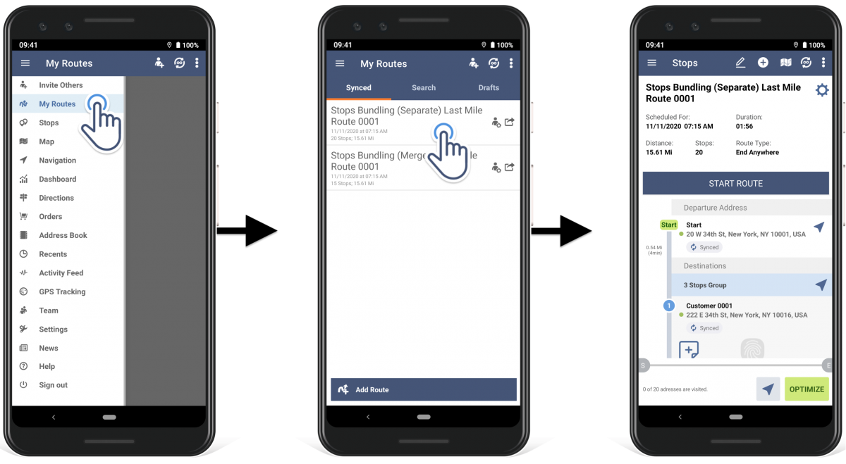 To view bundled addresses on a planned route, open the preferred route on your iOS device.