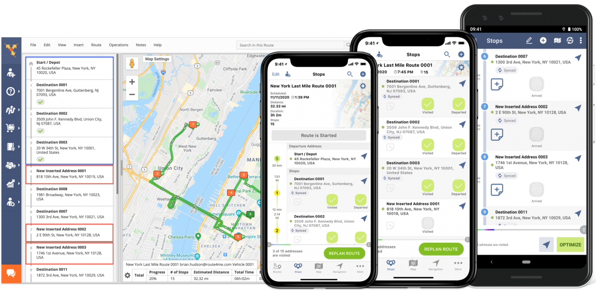 Once re-optimized, route changes are instantly synced with Route4Me's Android and iOS mobile apps.