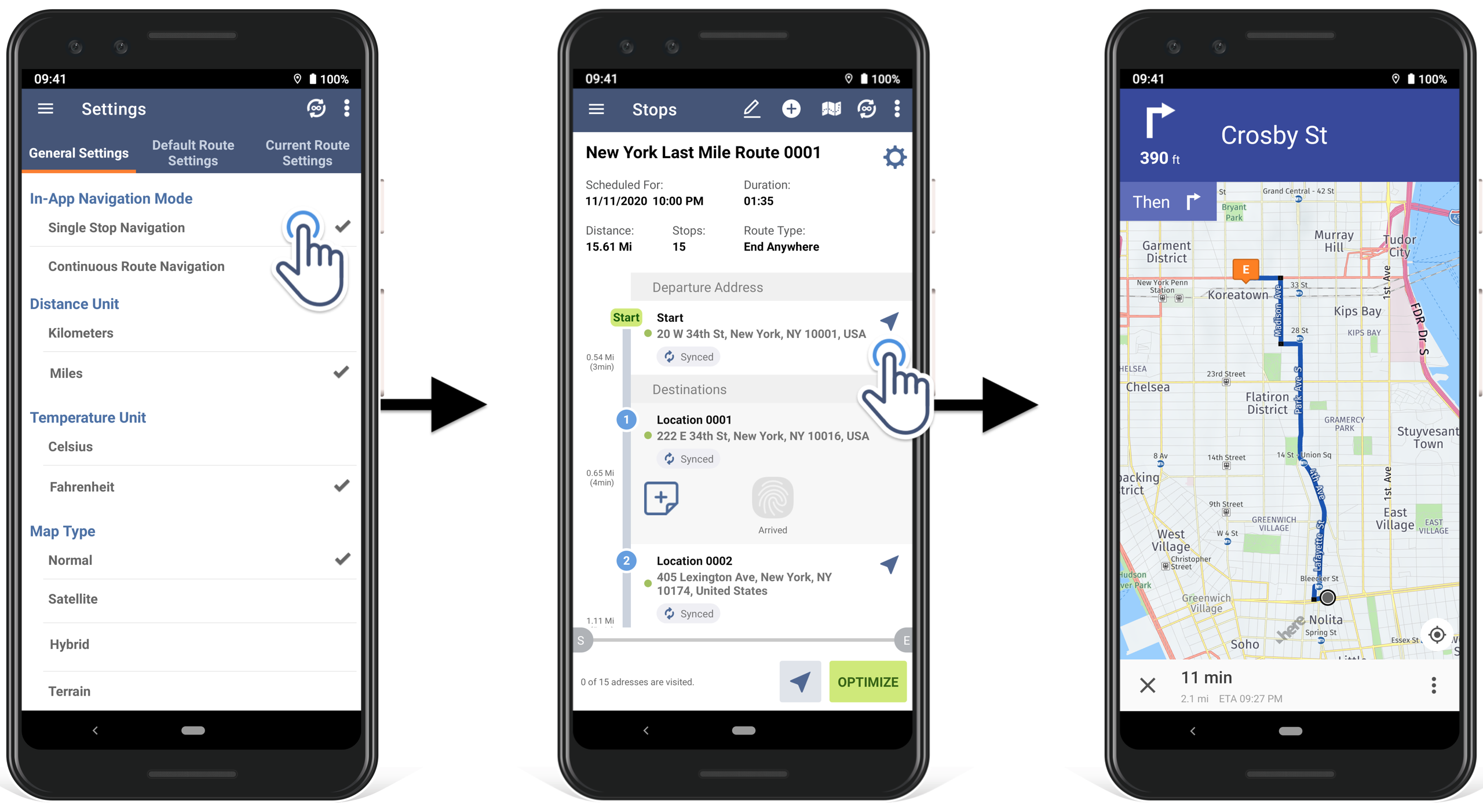 how to use single stop navigation directions in Route4Me Android route planner