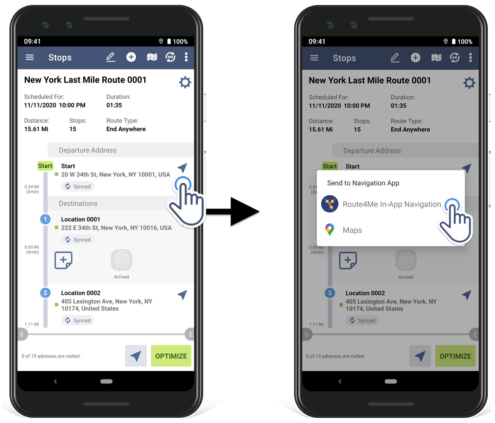 how to select your preferred navigation app in Route4Me Android route planner