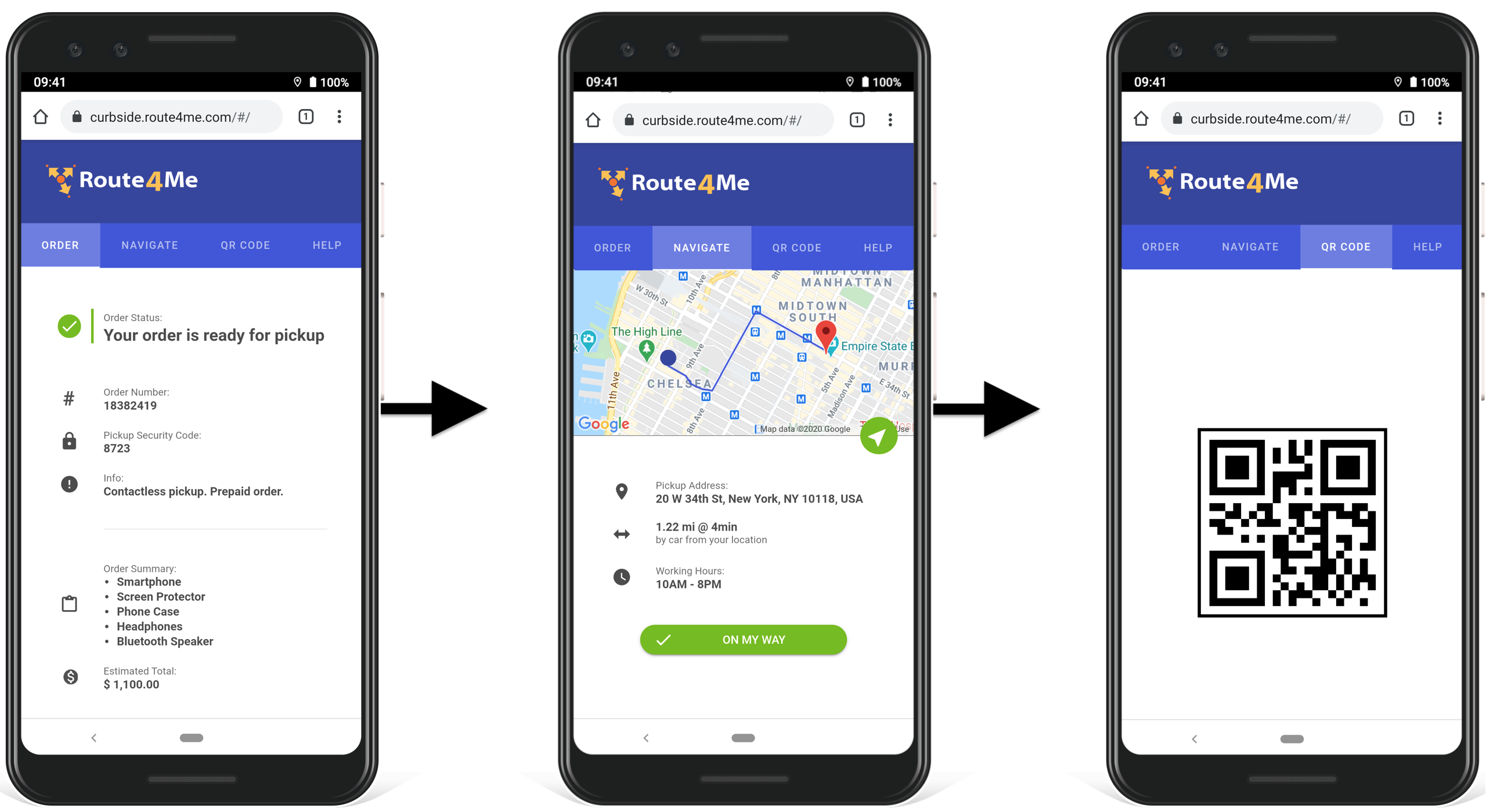 Customer portal for click and collect and in-store pickup.