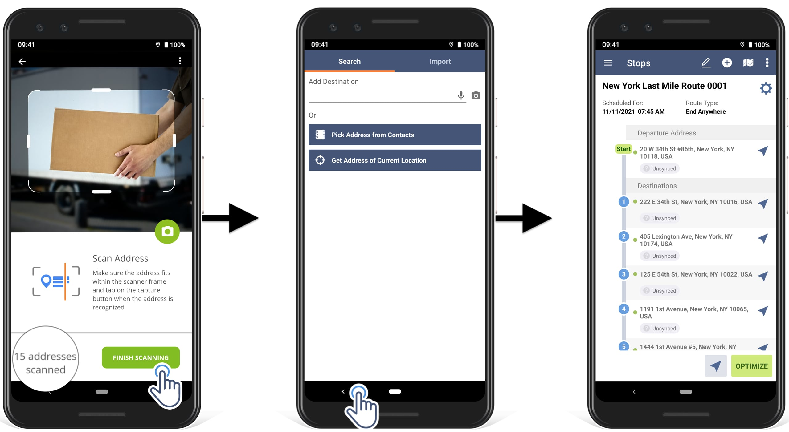 how to scan multiple addresses at a time to simultaneously add multiple scanned addresses to the route in Route4Me route planner app