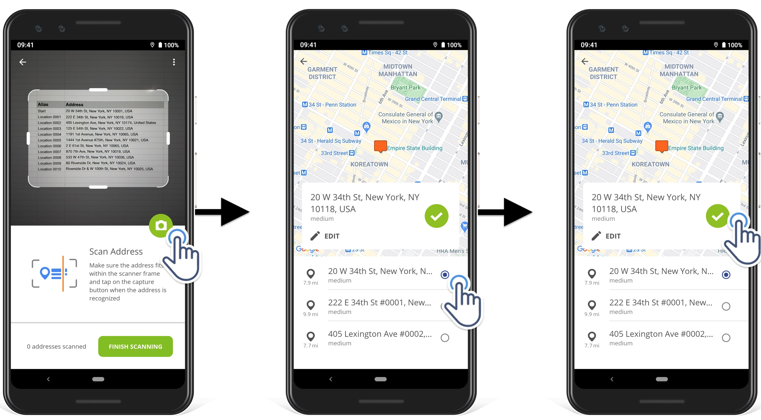 how to choose already geocode addresses from all recognized addresses in Route4Me route planner app