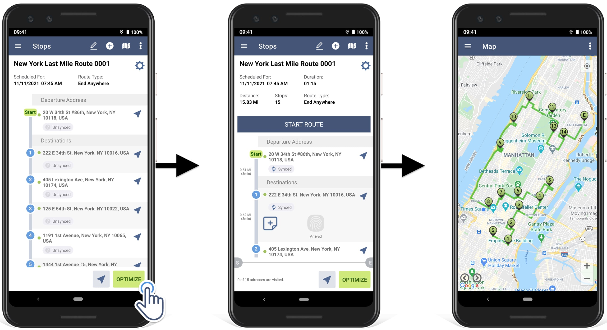 how to optimize all the scanned addresses into a route and start navigating the route, using in-app voice-guided navigation
