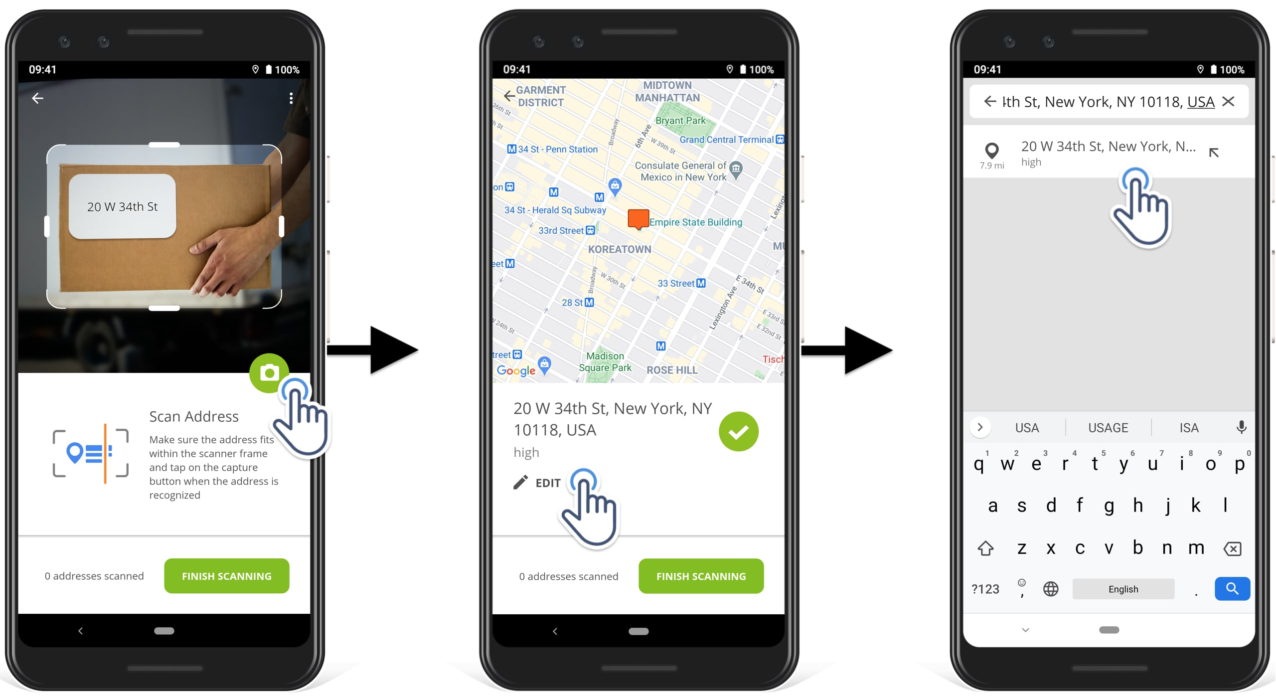 how to edit a scanned address in Route4Me delivery route planner app