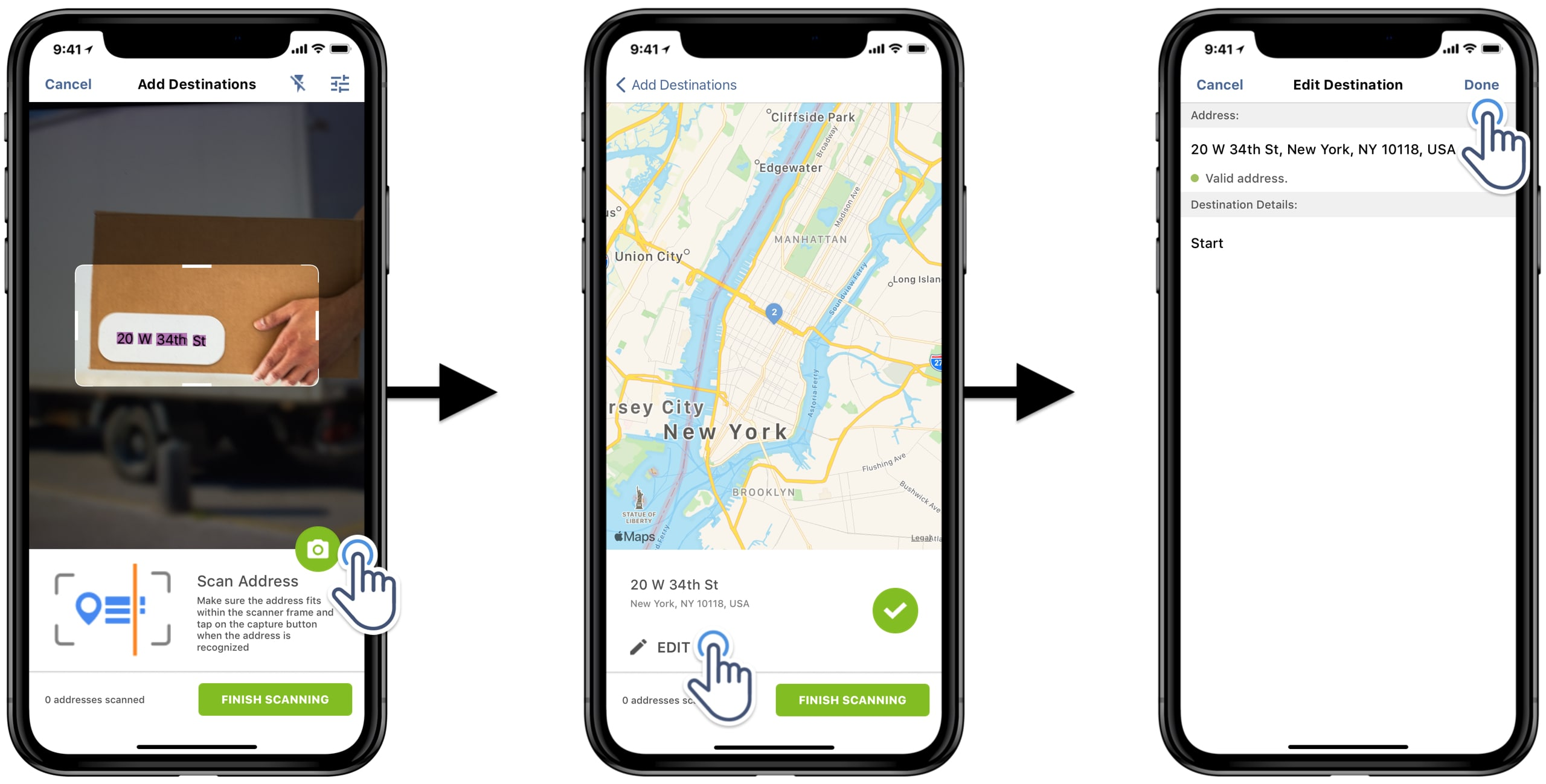 Use your iPhone or iPad camera to scan addresses and add addresses to the route on your route planner.