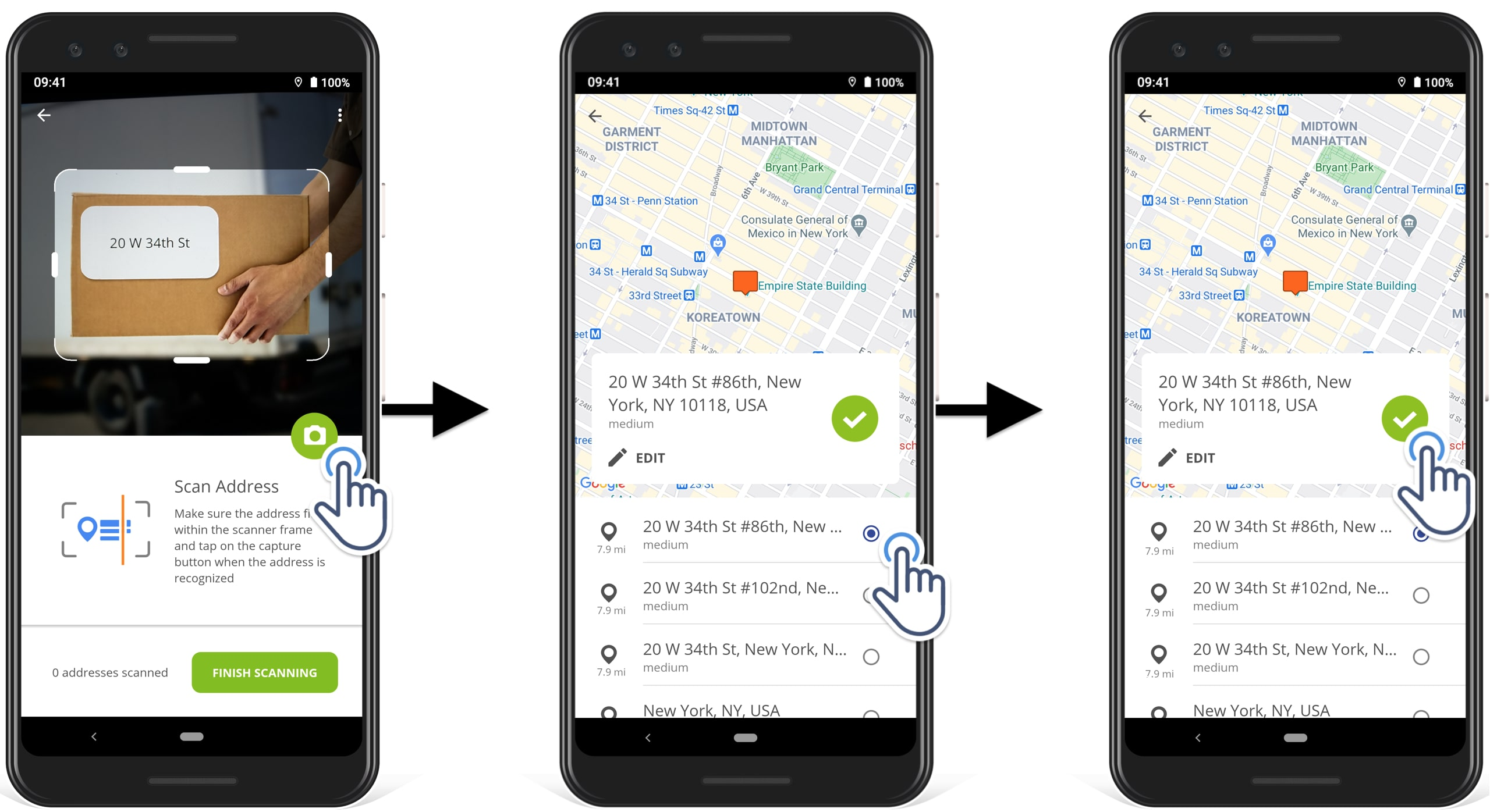 how to select suggested geocoded address after scanning