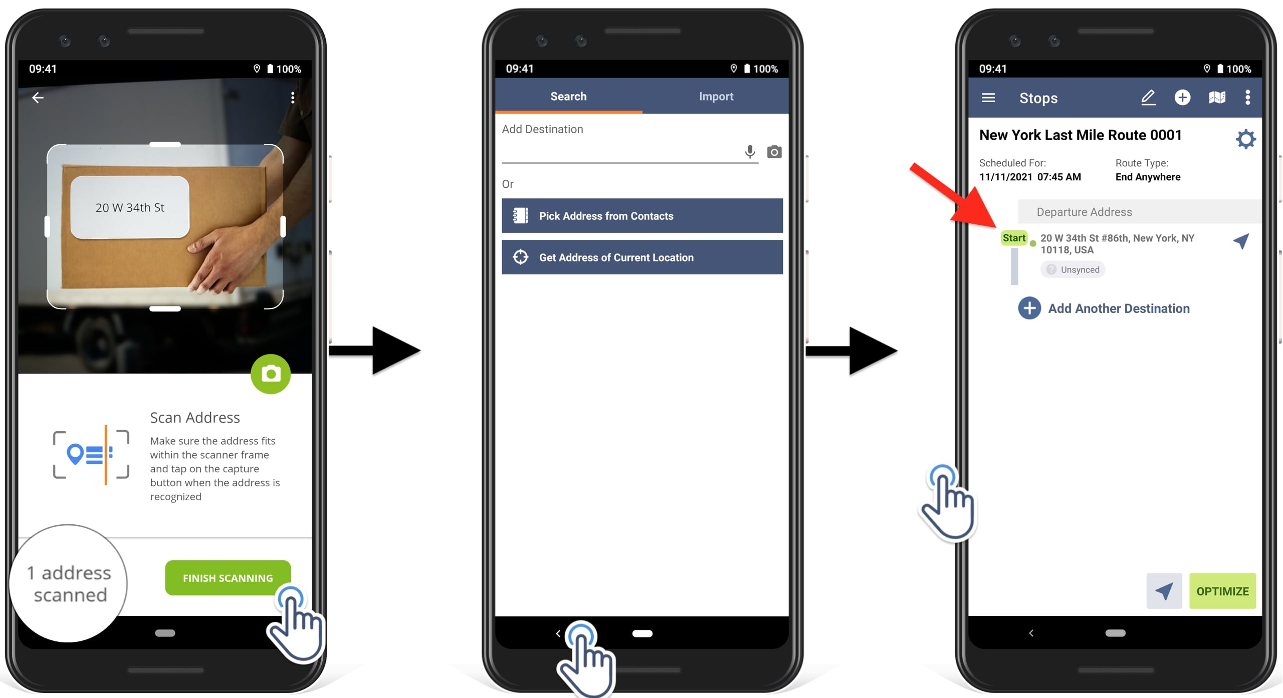 how to add the scanned address to the route on Route4Me route optimizer