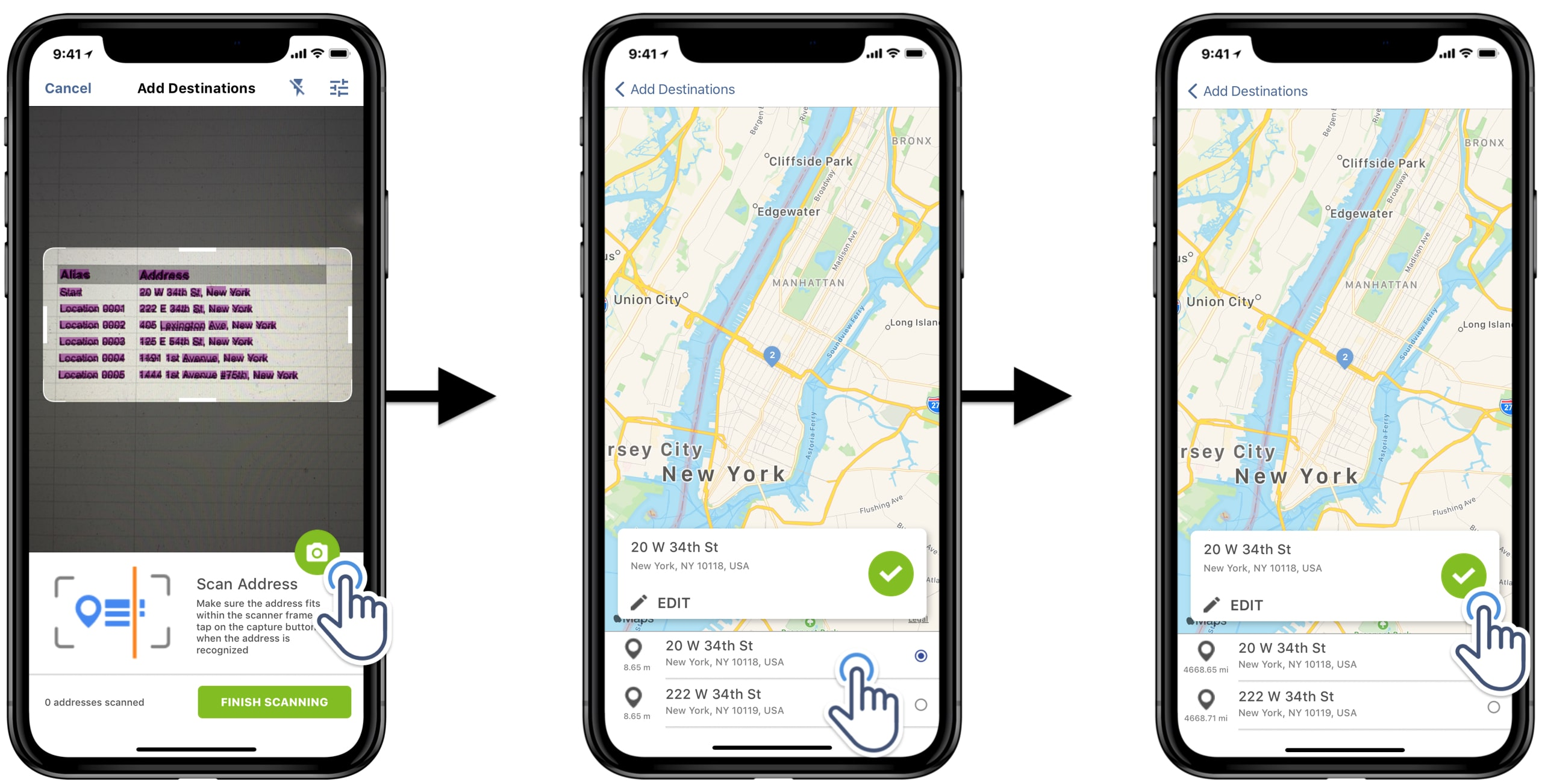 Scan multiple addresses and select one of the geocoded options to add to the route as a stop.
