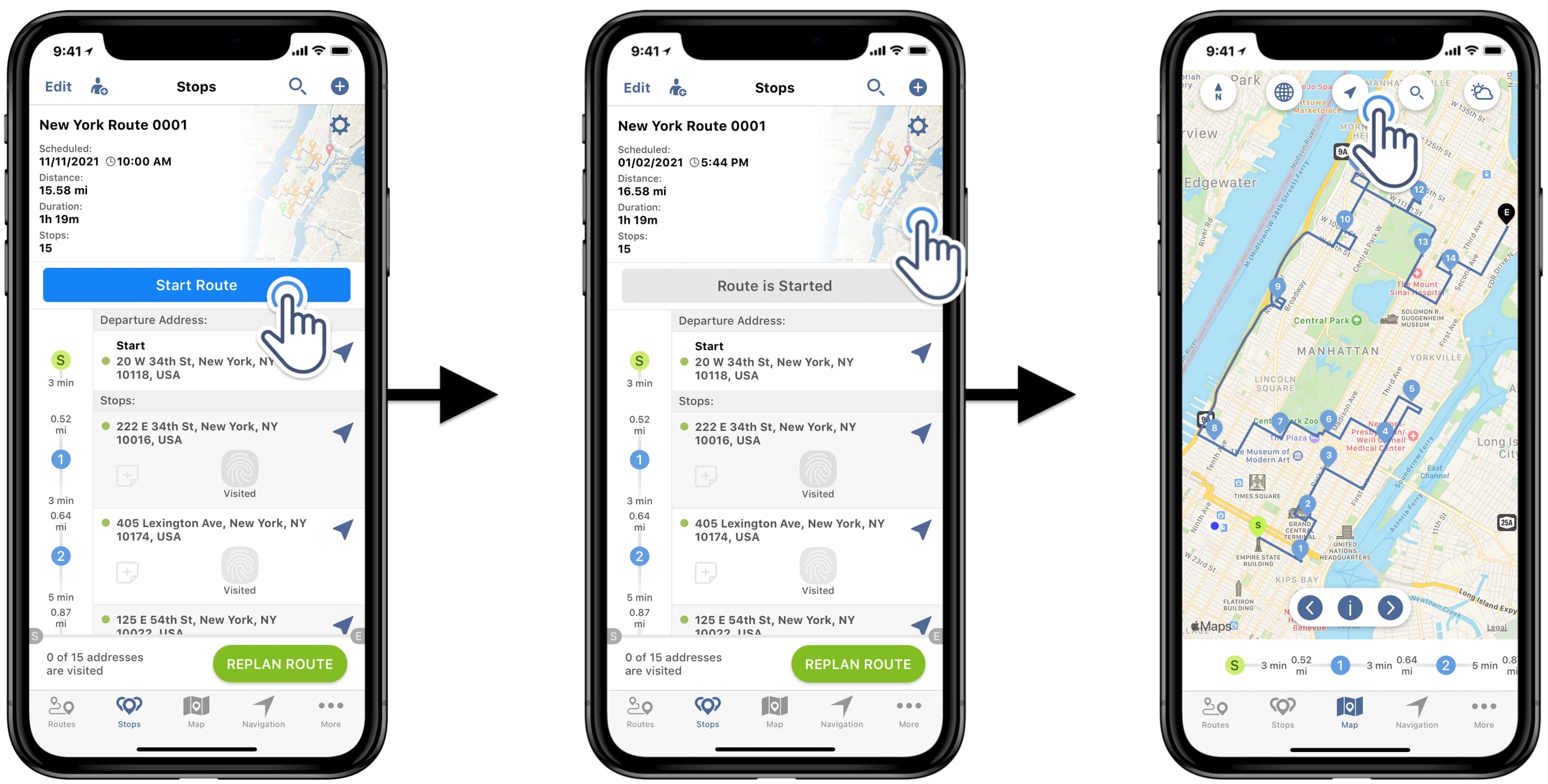 how to use the Route4Me route planner app to start and navigate the route usingturn by turn in-app voice-guided navigation