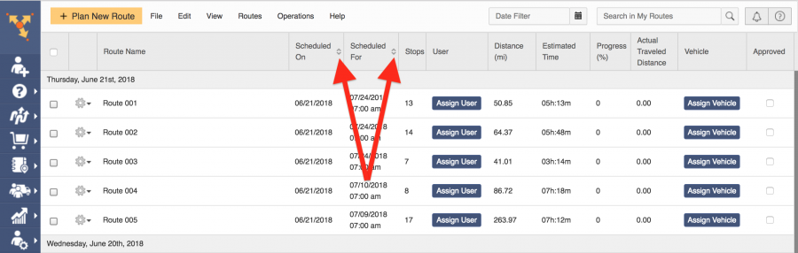Customize route planning when ordering the data in the routes list