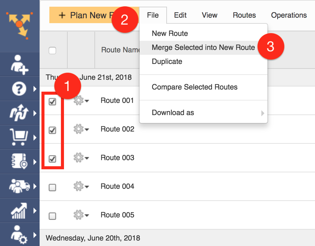 Create a new route when you merge multiple routes simultaneously