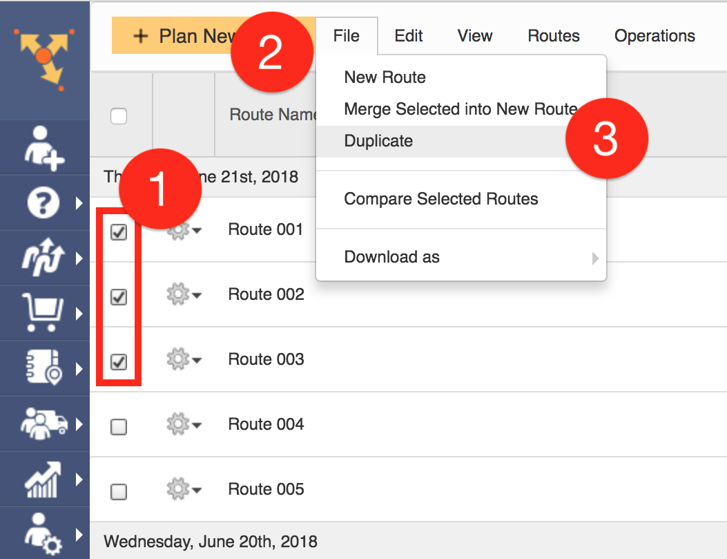 Duplicate multiple routes in Route4Me without having to replan them