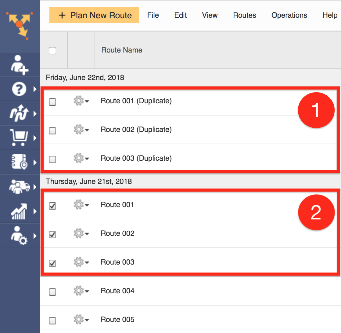 Duplicate a route one at a time using Route4Me