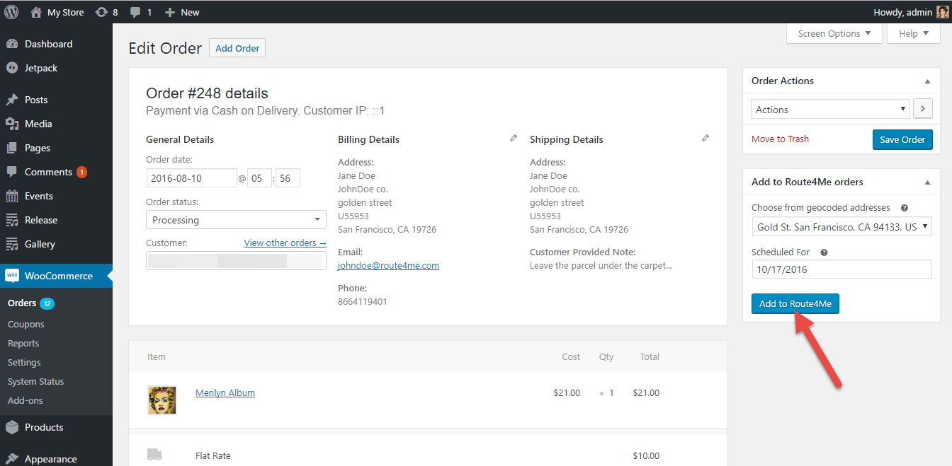 Optimize any route when you use the Route4Me plugin for the WooCommerce E-Commerce platform