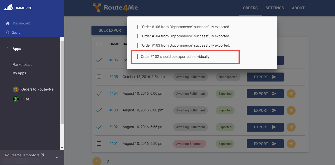 Optimize any route when you use the Route4Me plugin for the BigCommerce E-Commerce platform