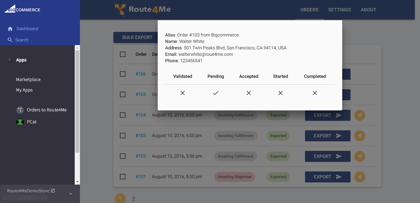 For dynamic routing, use the Route4Me plugin from BigCommerce to Route4Me